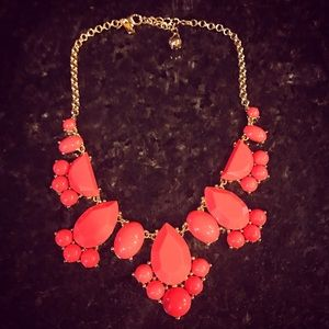 Kate Spade Coral Rhinestone Necklace, Gold Colored